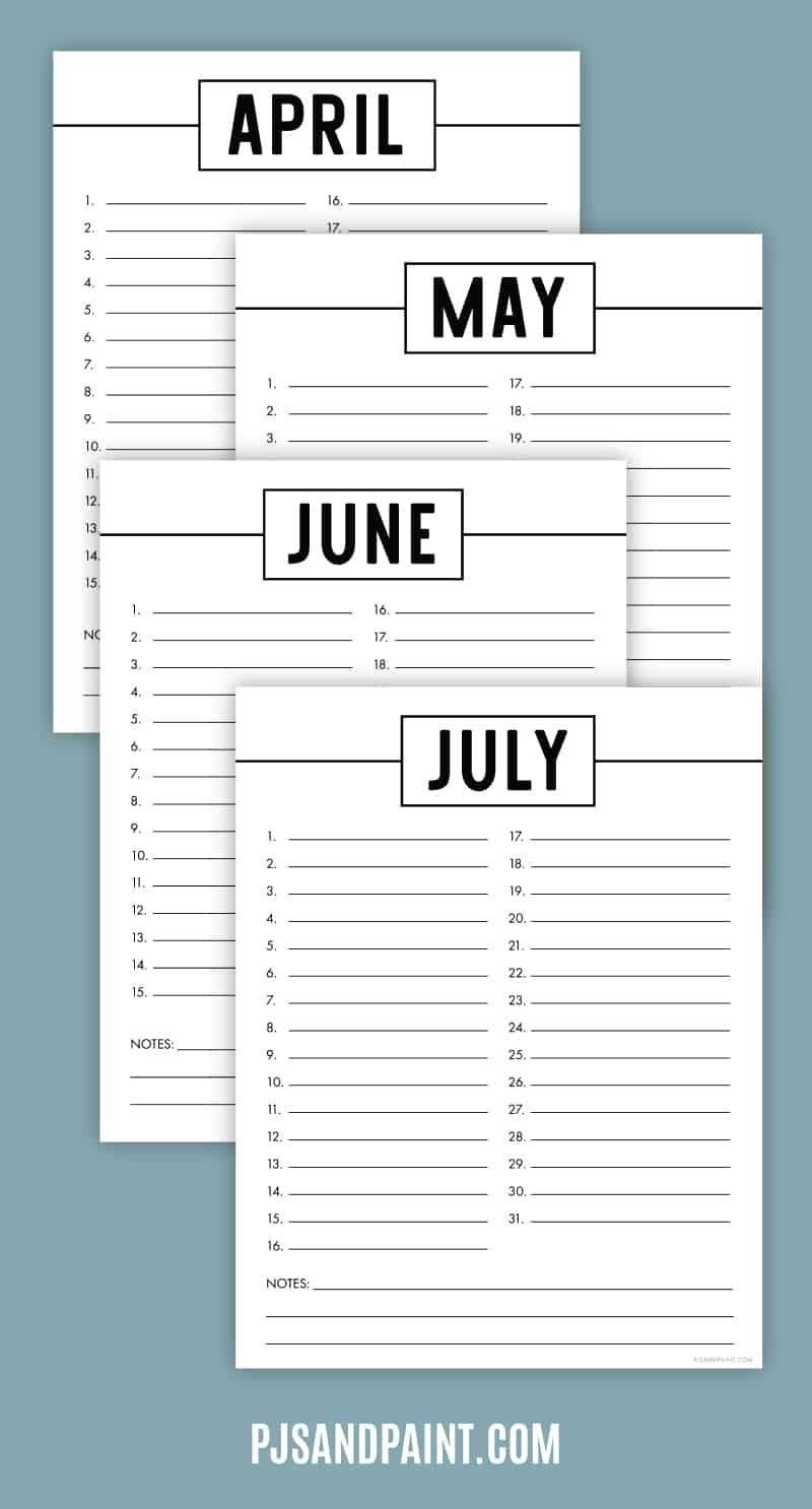 Free Printable Perpetual Calendar - Printable Birthday Calendar