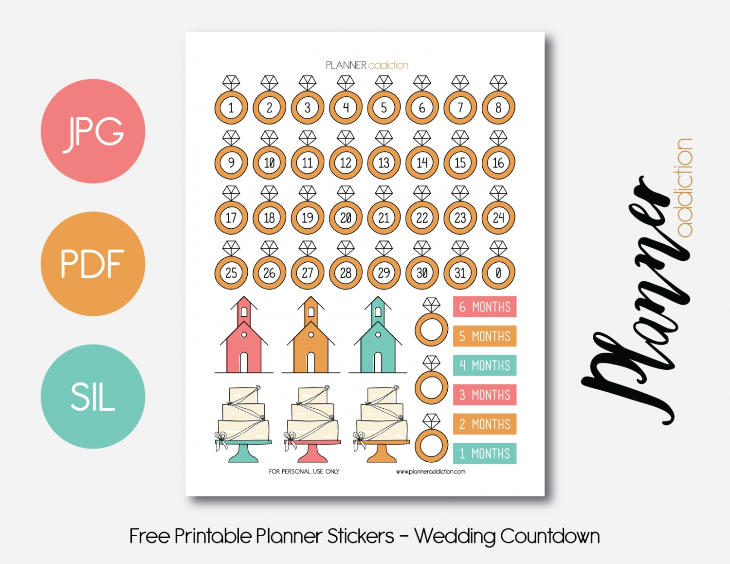Free Printable Planner Stickers - Wedding Countdown (With