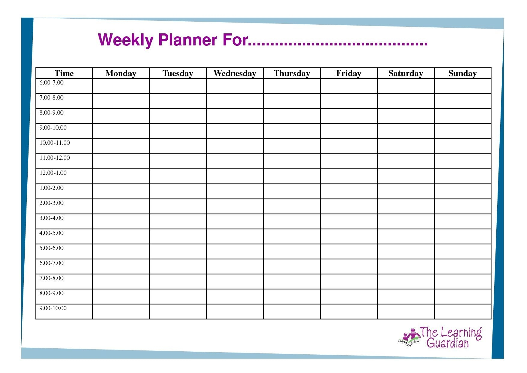 Free Printable Weekly Calendar Templates Planner For Time
