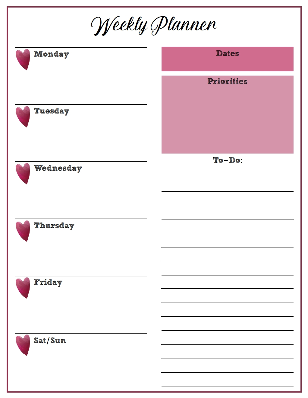 Free Printable Weekly Planners: Monday Start (With Images