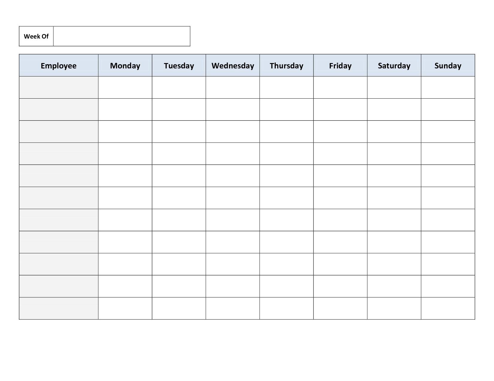 Free Printable Work Schedules | Weekly Employee Work