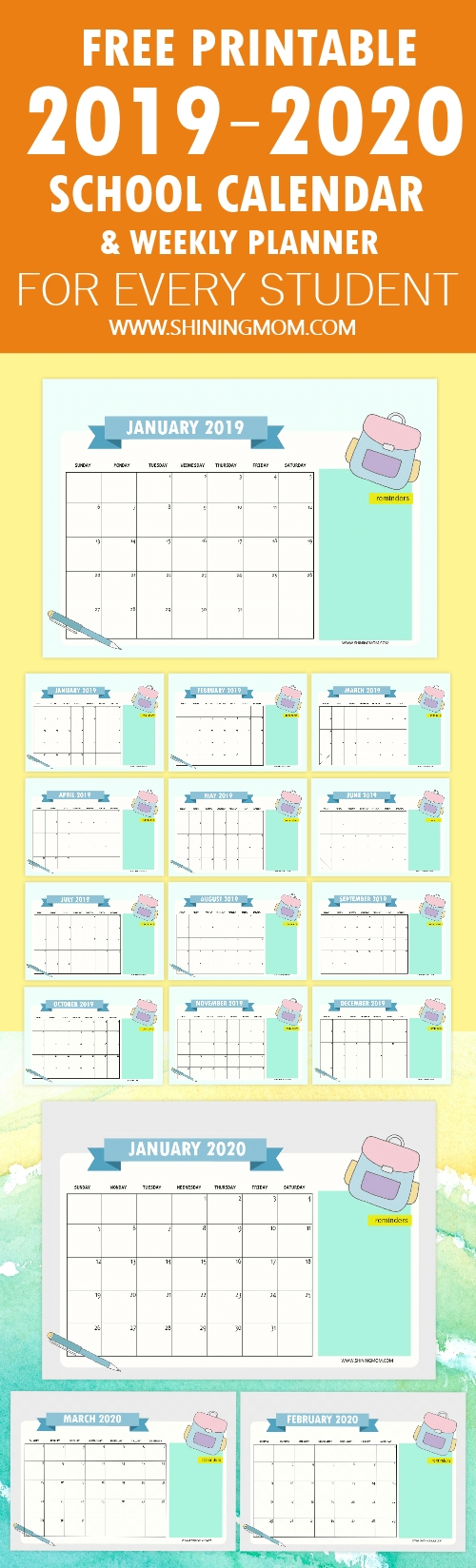 Free School Calendar 2019 – 2020 With Weekly Student Planner