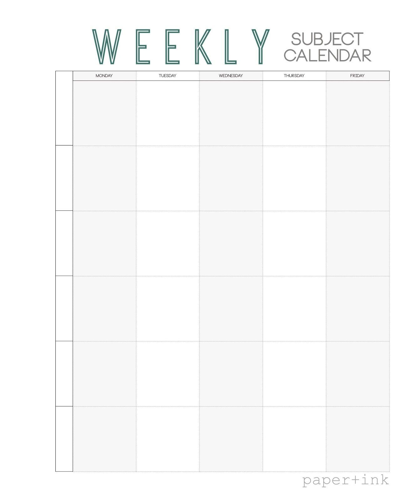 Free Weekly Subject Calendar | School Calendar, Weekly