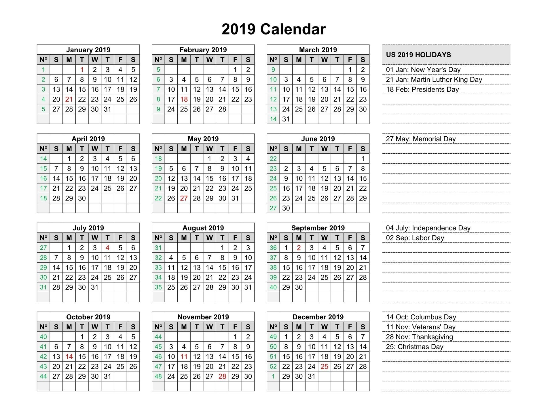 Free Yearly 2019 Calendar Printable Templates Editable (With