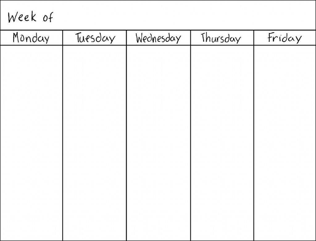 Get 5 Day Week Blank Calendar Printable | Weekly Calendar