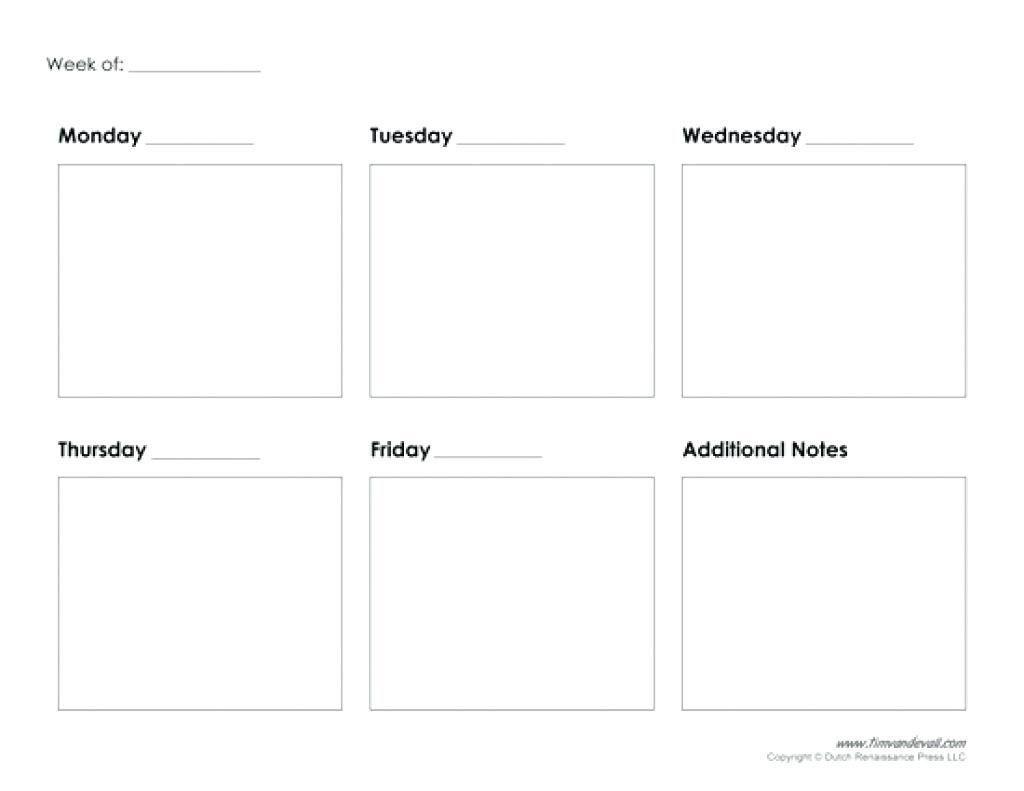 Get Blank Calendar Template 5 Day | Printable Calendar