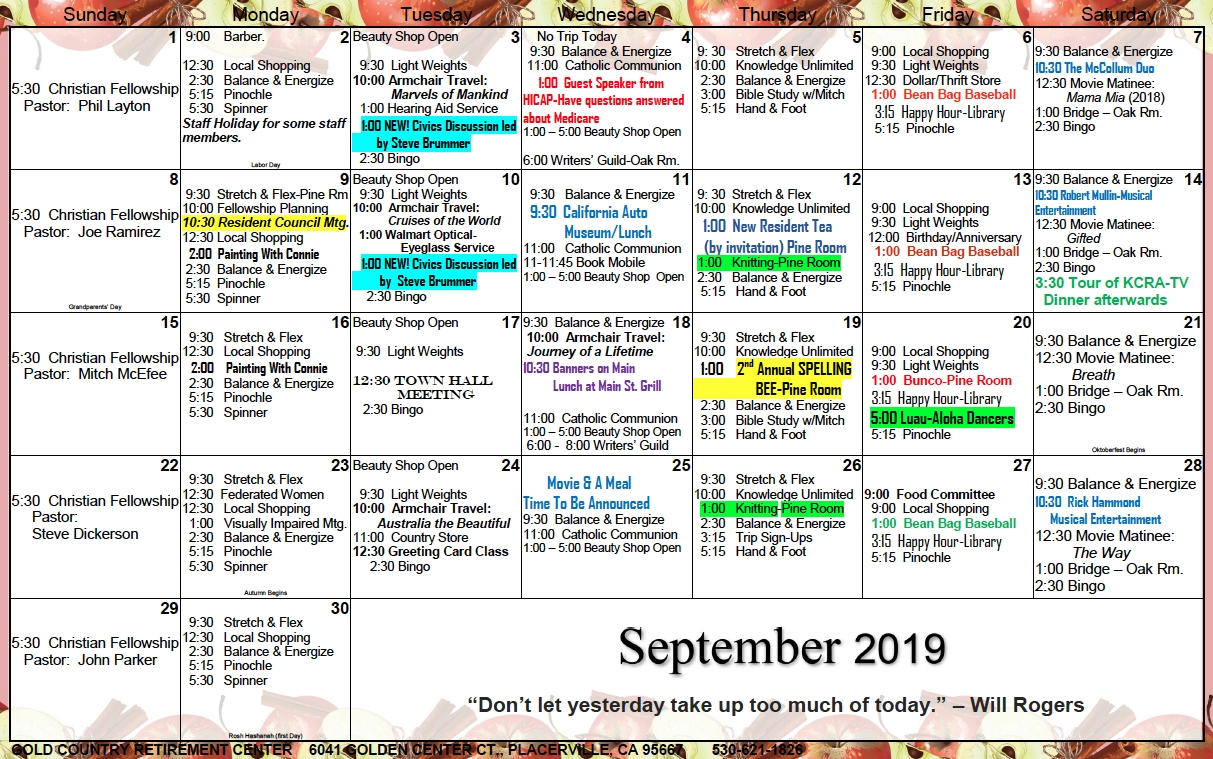 Gold Country Il September Calendar - Gold Country Retirement
