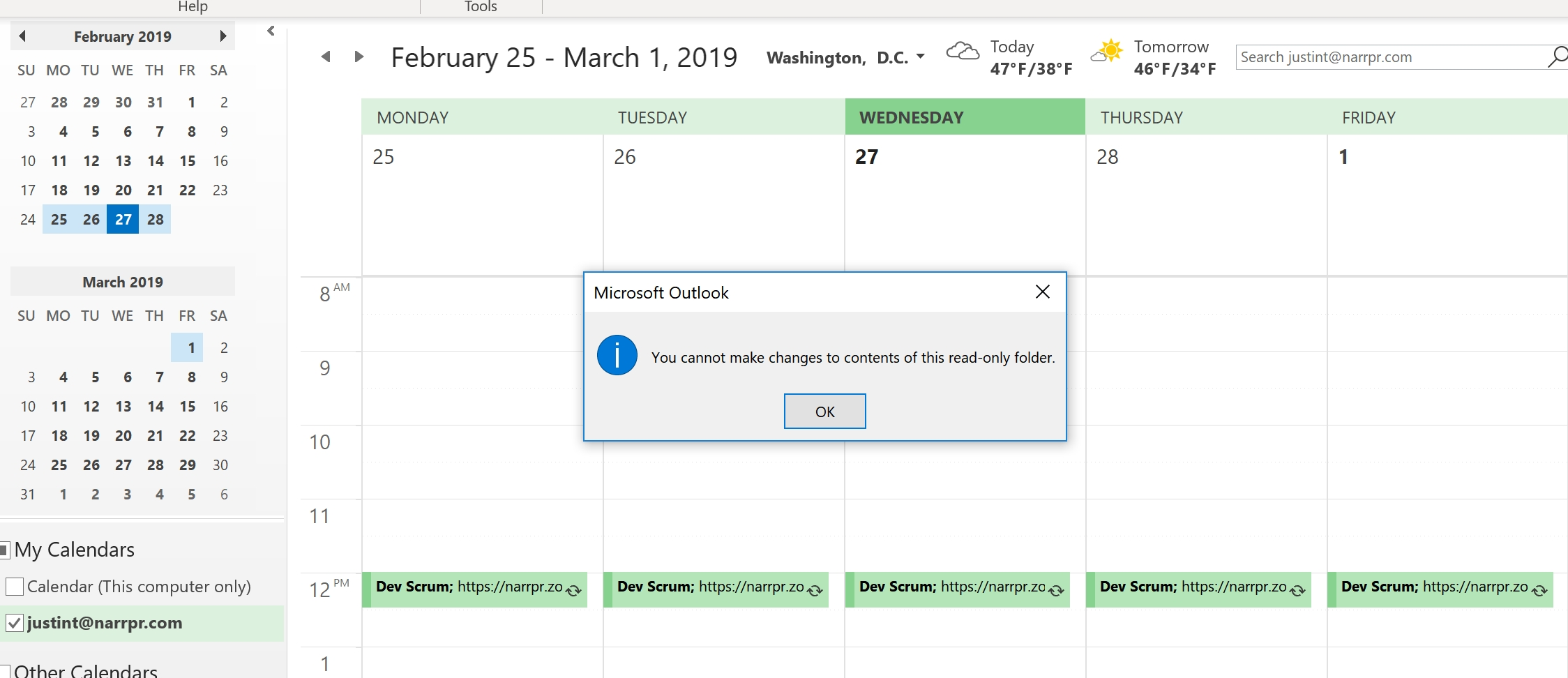 Google Calendar Synced To Outlook Can't Add Or Modify Events