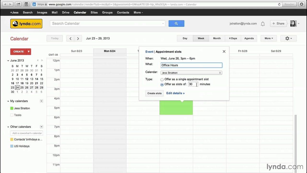 Google Calendar Tutorial: Creating Appointment Slots | Lynda