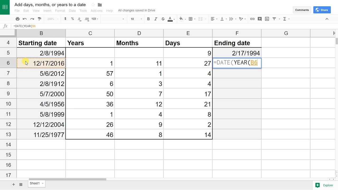Google Sheets - Add (Or Subtract) Days, Months Or Years To A Date