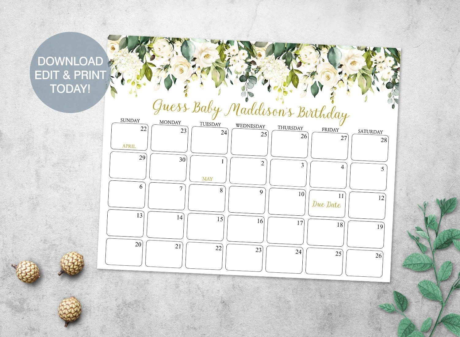 Greenery Baby Due Date Prediction Calendar Printable, White