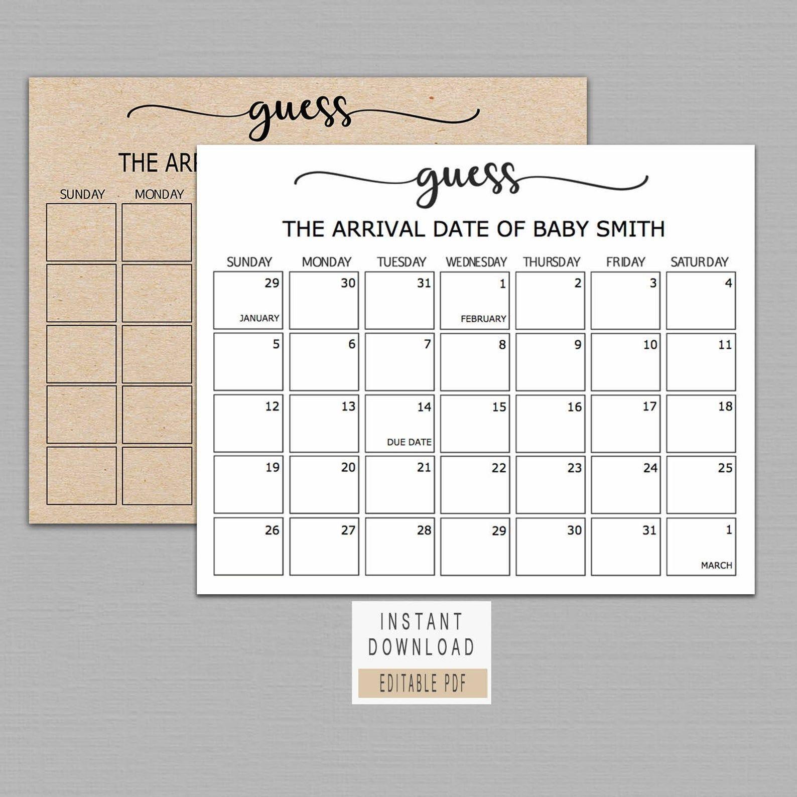 Guess Baby Birthday Calendar, Baby Due Date Calendar Poster