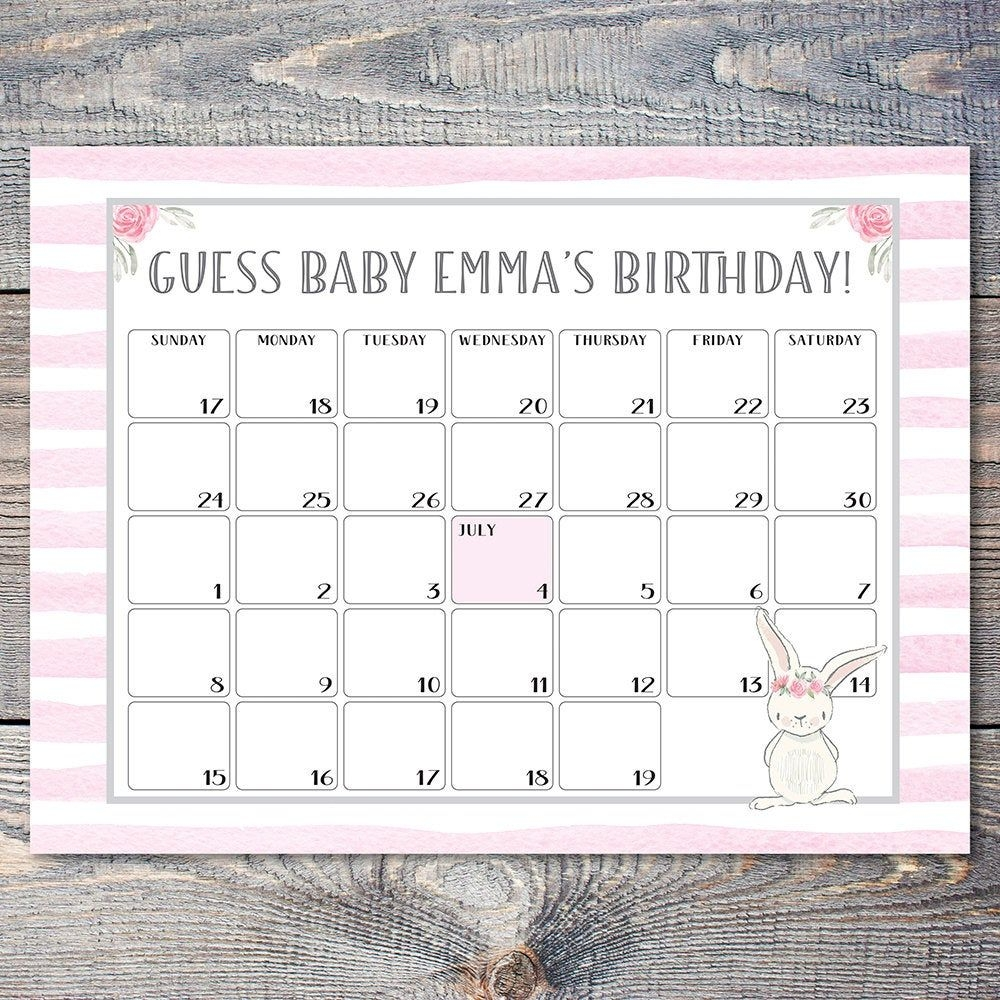Guess The Baby's Birthday Bunny Calendar For Baby Shower 18 By 24 Inch  Poster / Bunny Due Date Poster For Baby Shower
