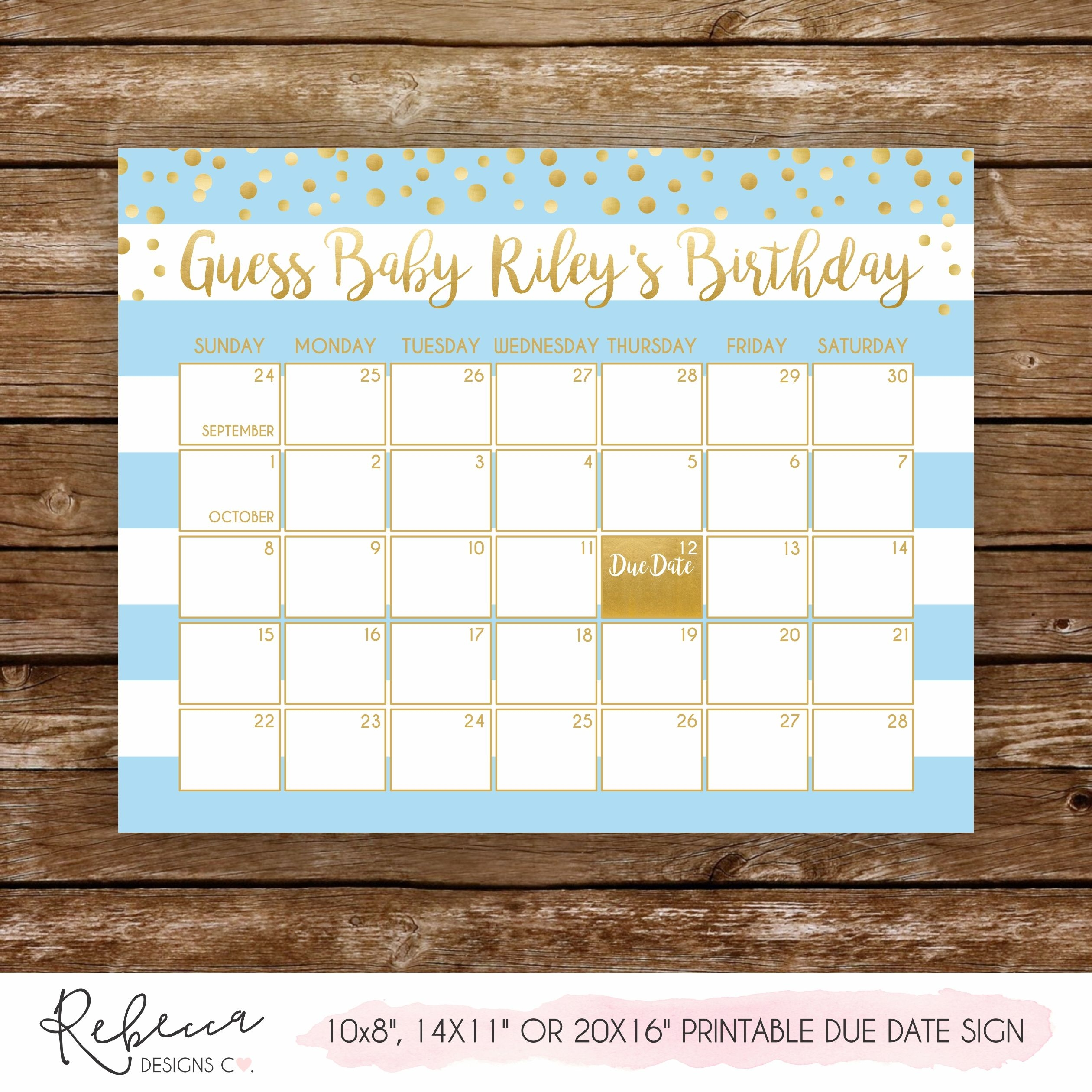 Guess The Due Date Game Sign • Printable Custom Design