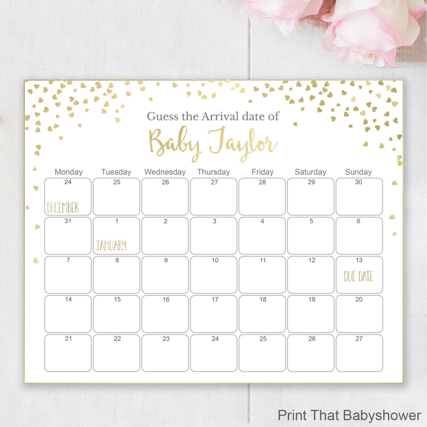 Guess The Due Date - Gold Baby Shower Games - Baby Shower
