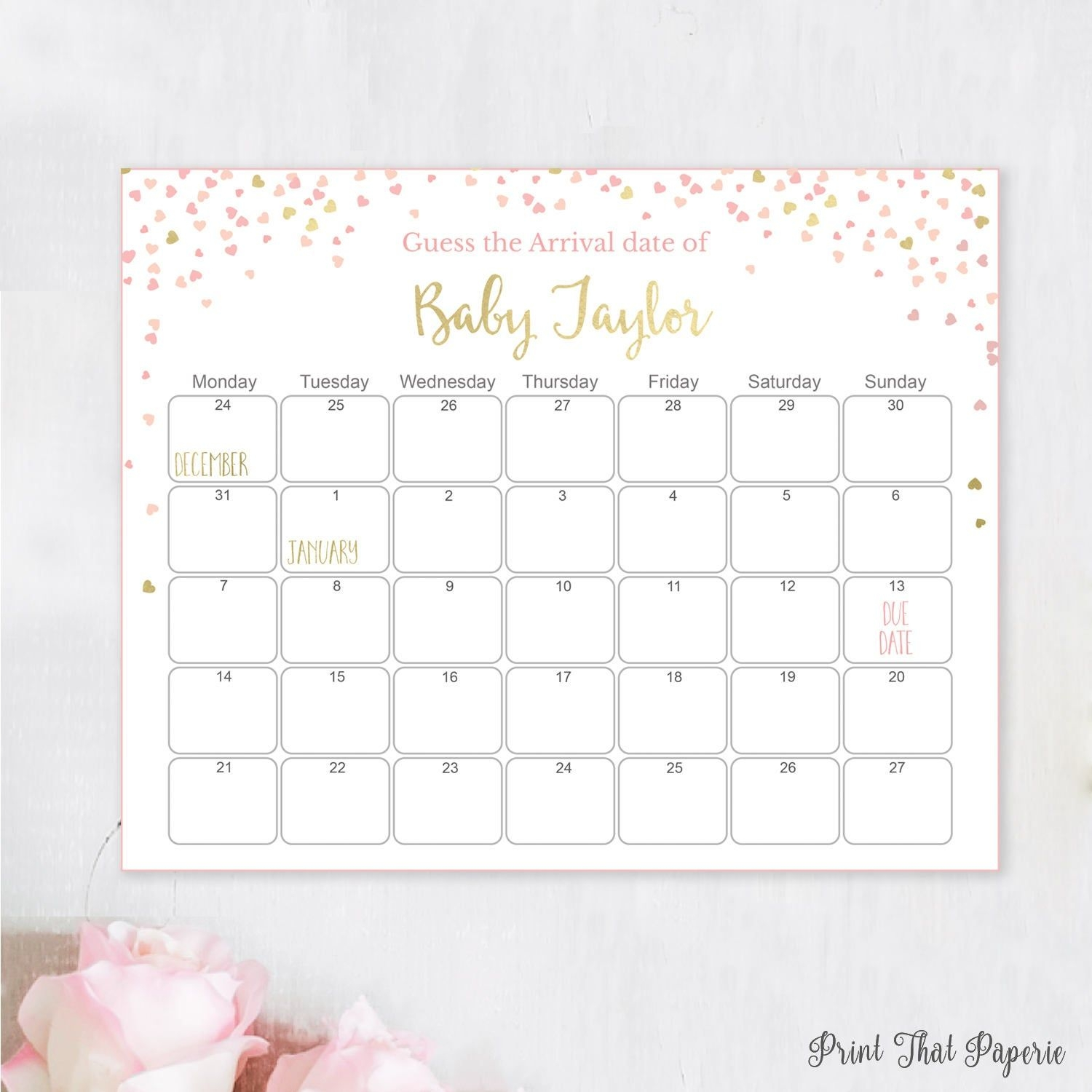 Guess The Due Date - Pink Baby Shower Games - Baby Shower Birthday  Prediction, Printable Baby Shower Due Date Calendar, Pink And Gold Hearts
