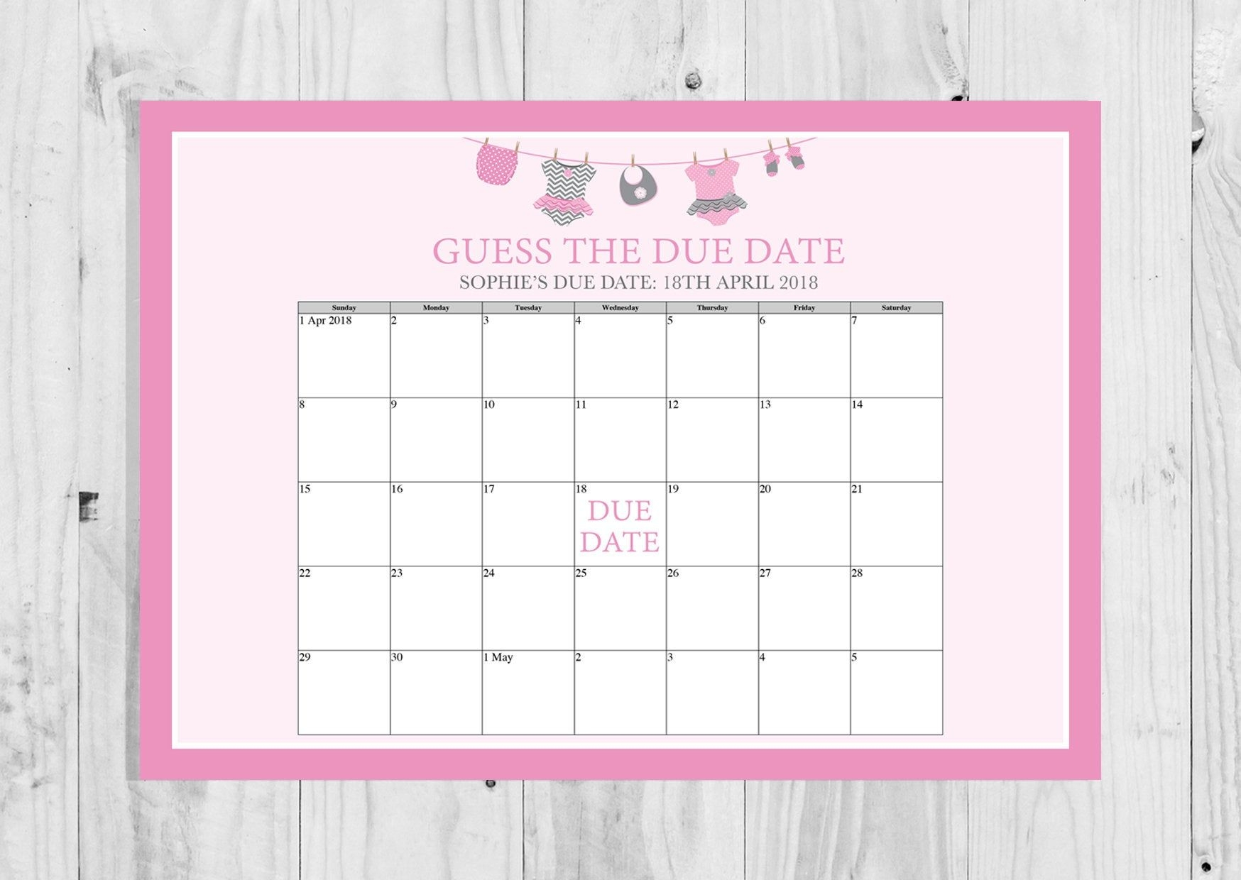 Guess The Due Date, Pink Washing Line, Clothes Line, Baby Girl, Baby  Shower, Baby Shower Game, Digital Download