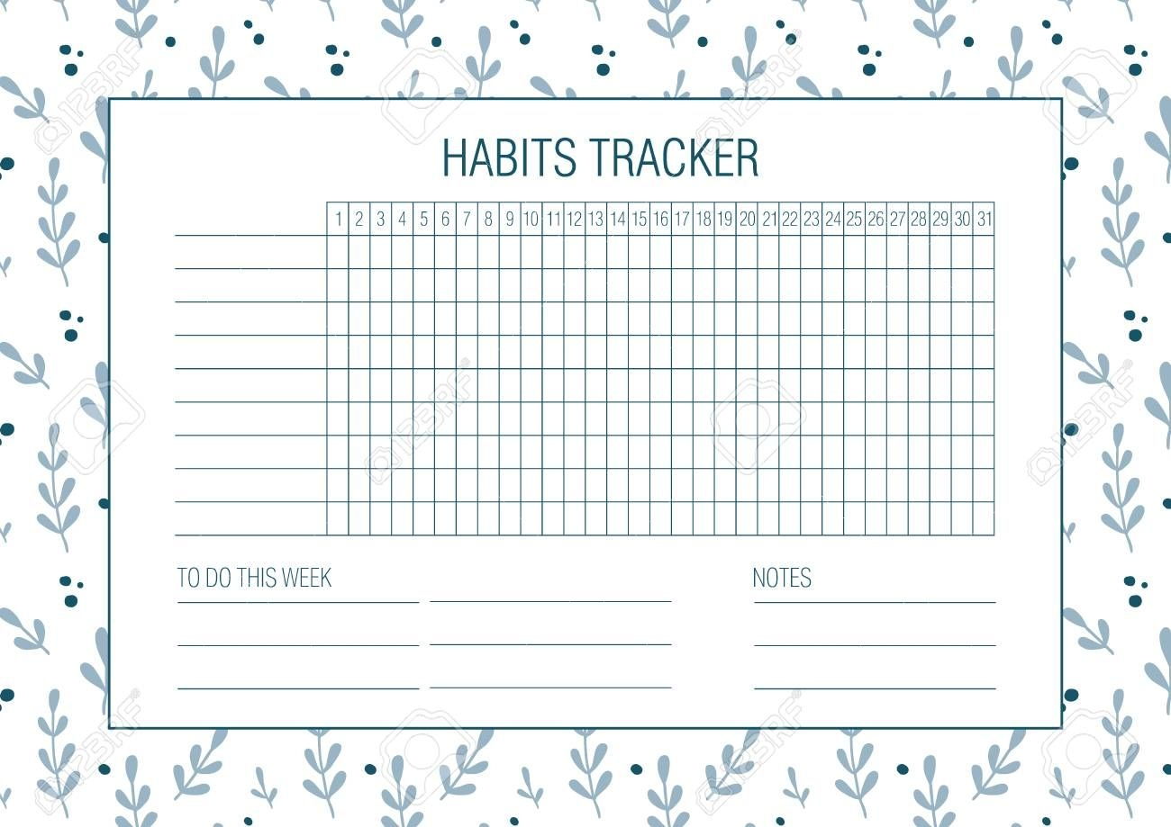 Habit Tracker Blank With Hand Drawn Floral Texture. Bullet Journal..