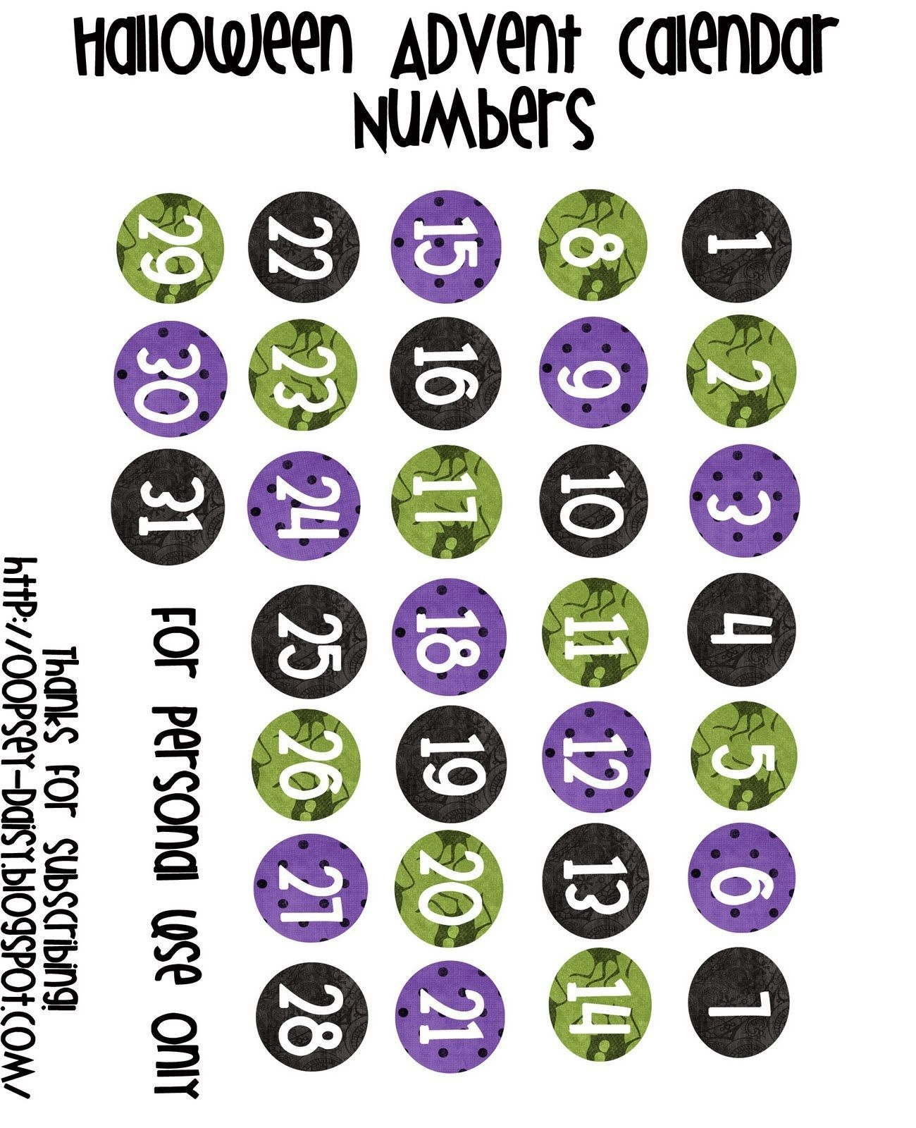 Halloween Advent Numbers (Turn Into Magnets) Printable