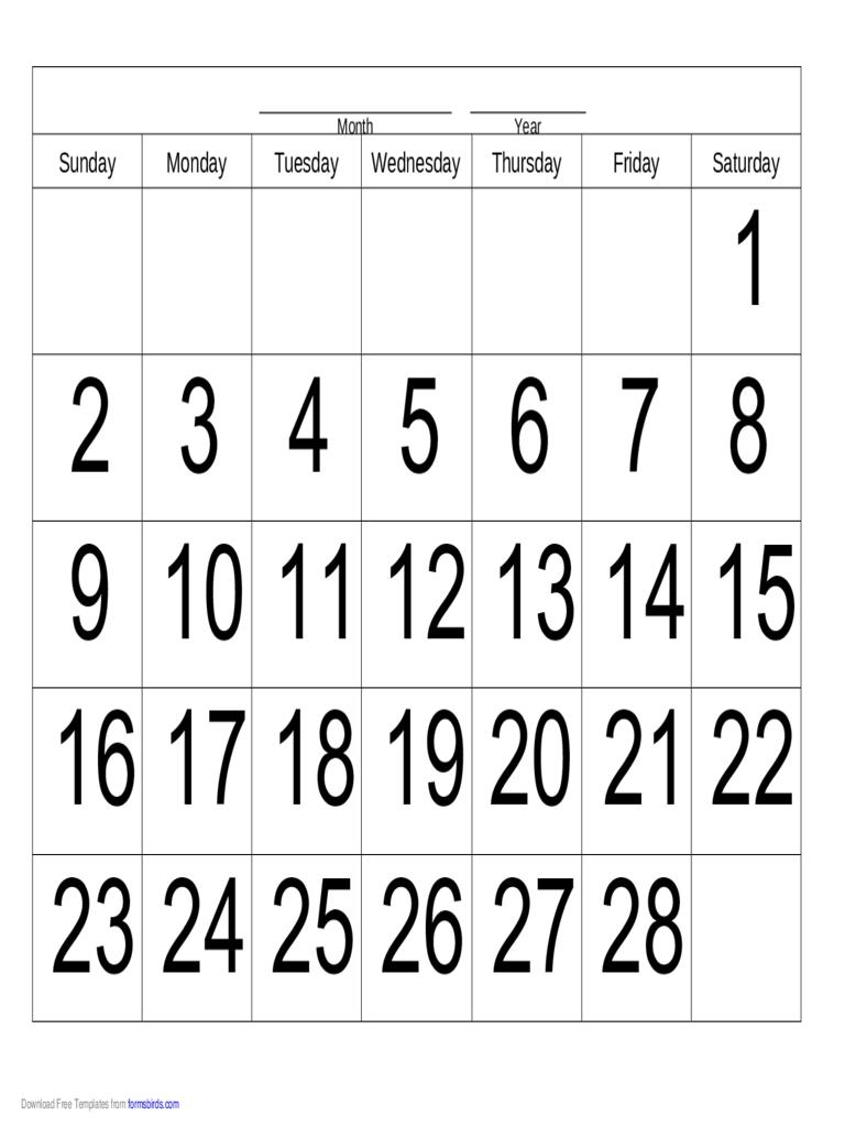 Handwriting Calendar - 28 Day - Saturday - Edit, Fill, Sign