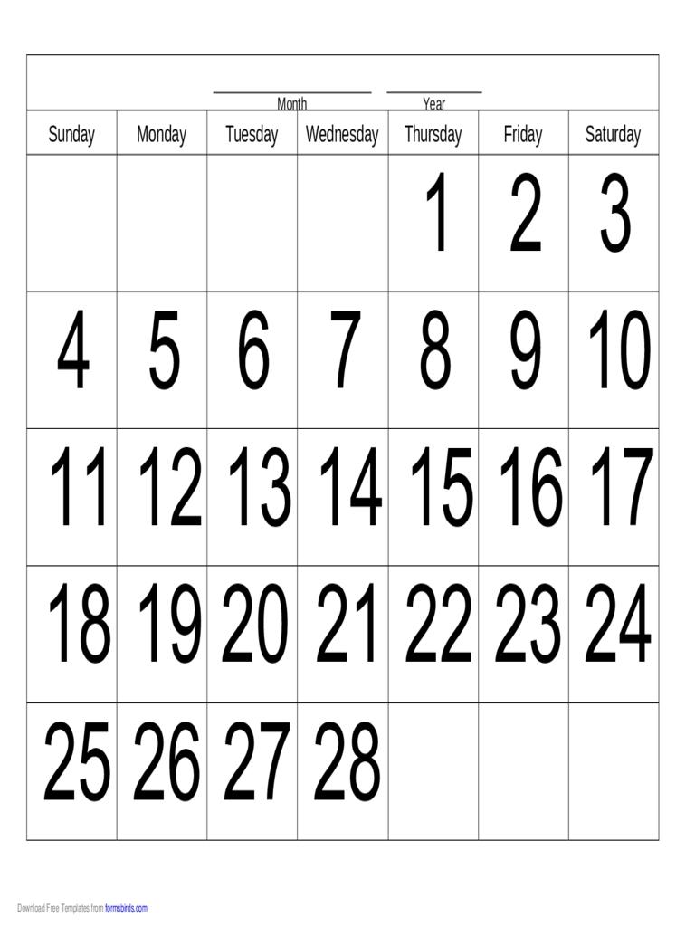 Handwriting Calendar - 28 Day - Thursday - Edit, Fill, Sign