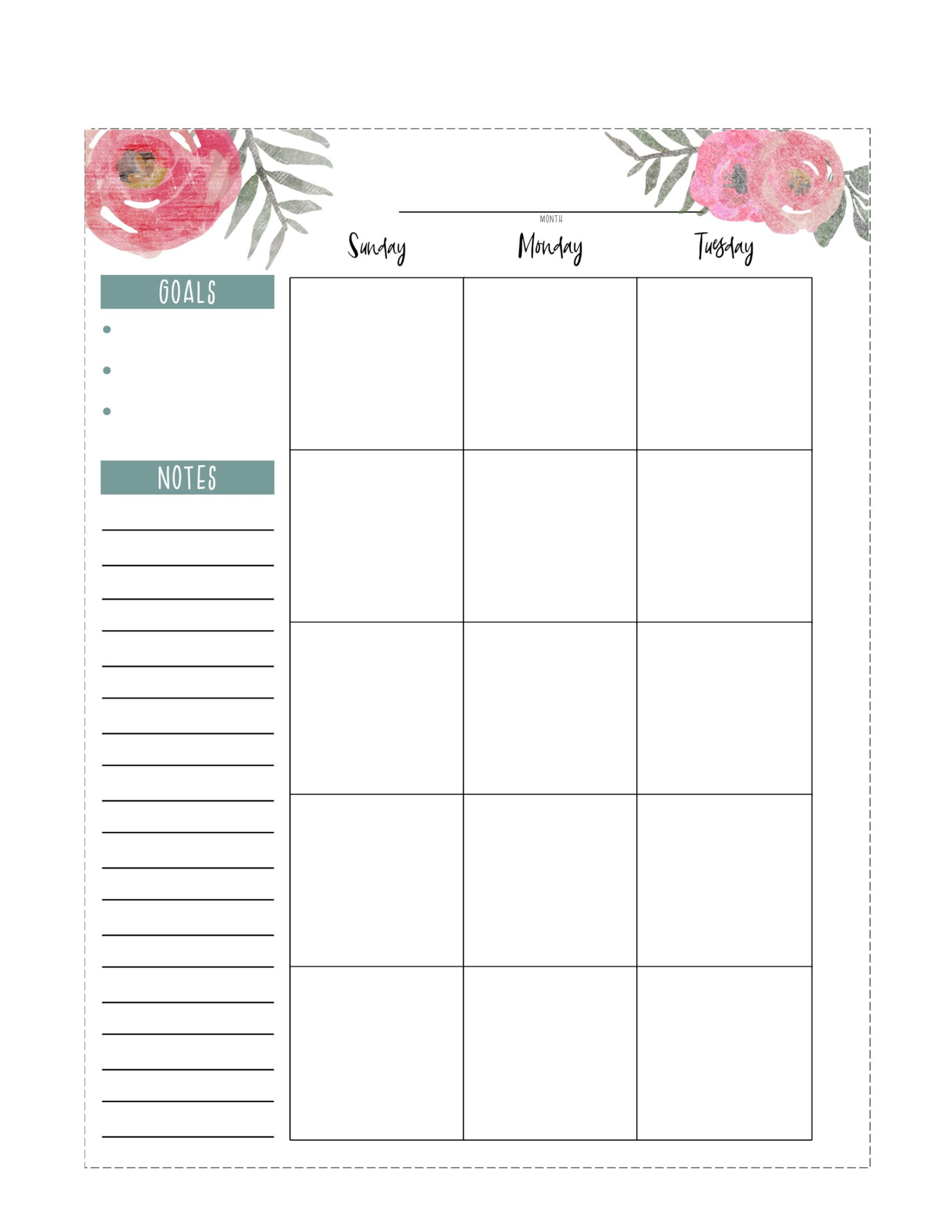Happy Planner Free Printable Pages - Floral - Paper Trail Design