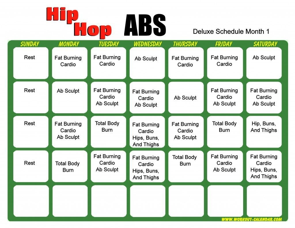 Hip Hop Abs Workout Calendar | Workout Calendar, Hip Hop Abs