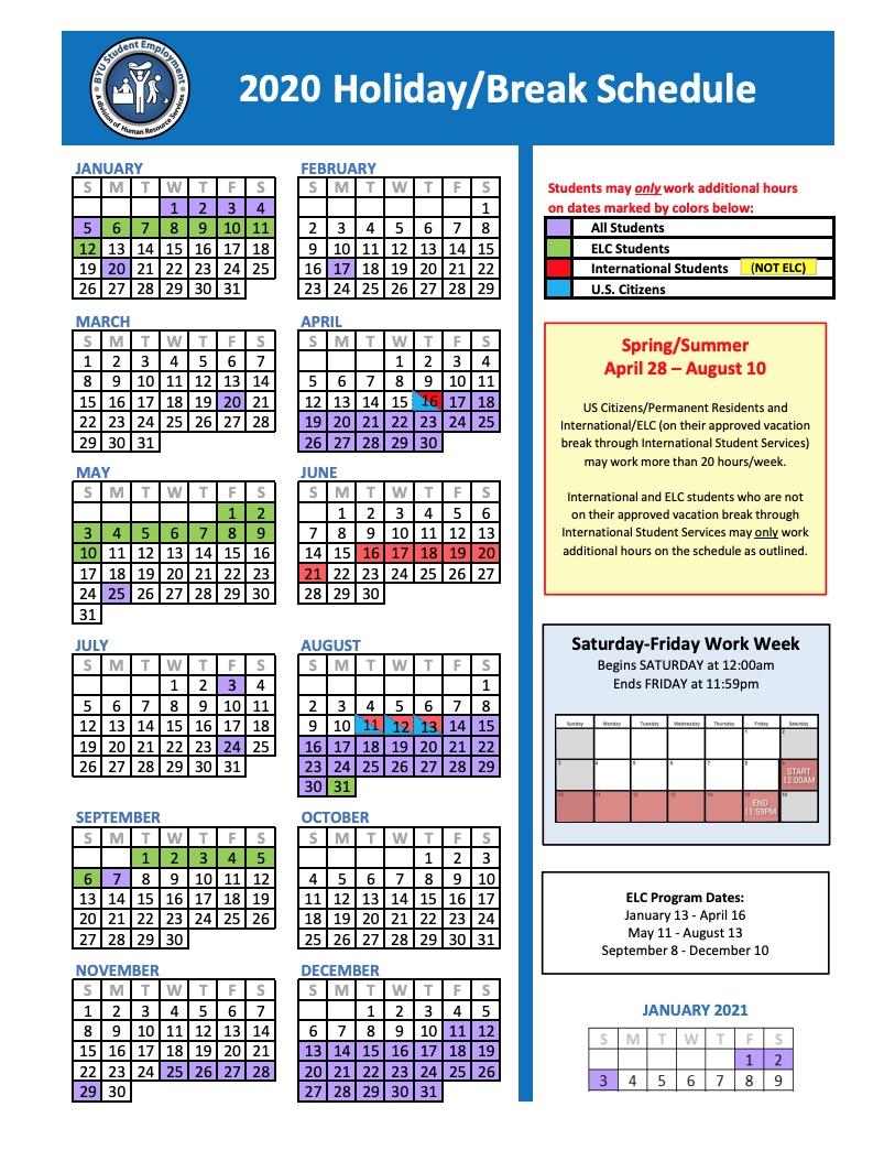 Holiday/break Schedule | Human Resources