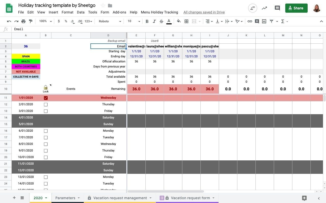 Holiday Tracking In Google Sheets: How To Set It Up