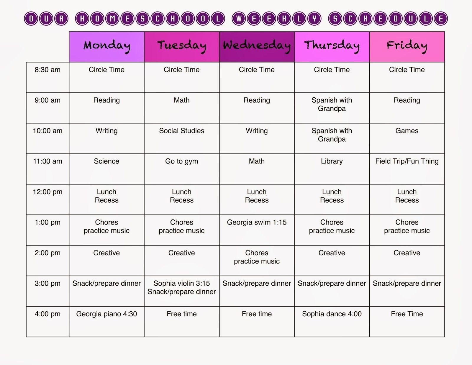 Homeschool Weekly Schedule And A Free Template   Homeschool