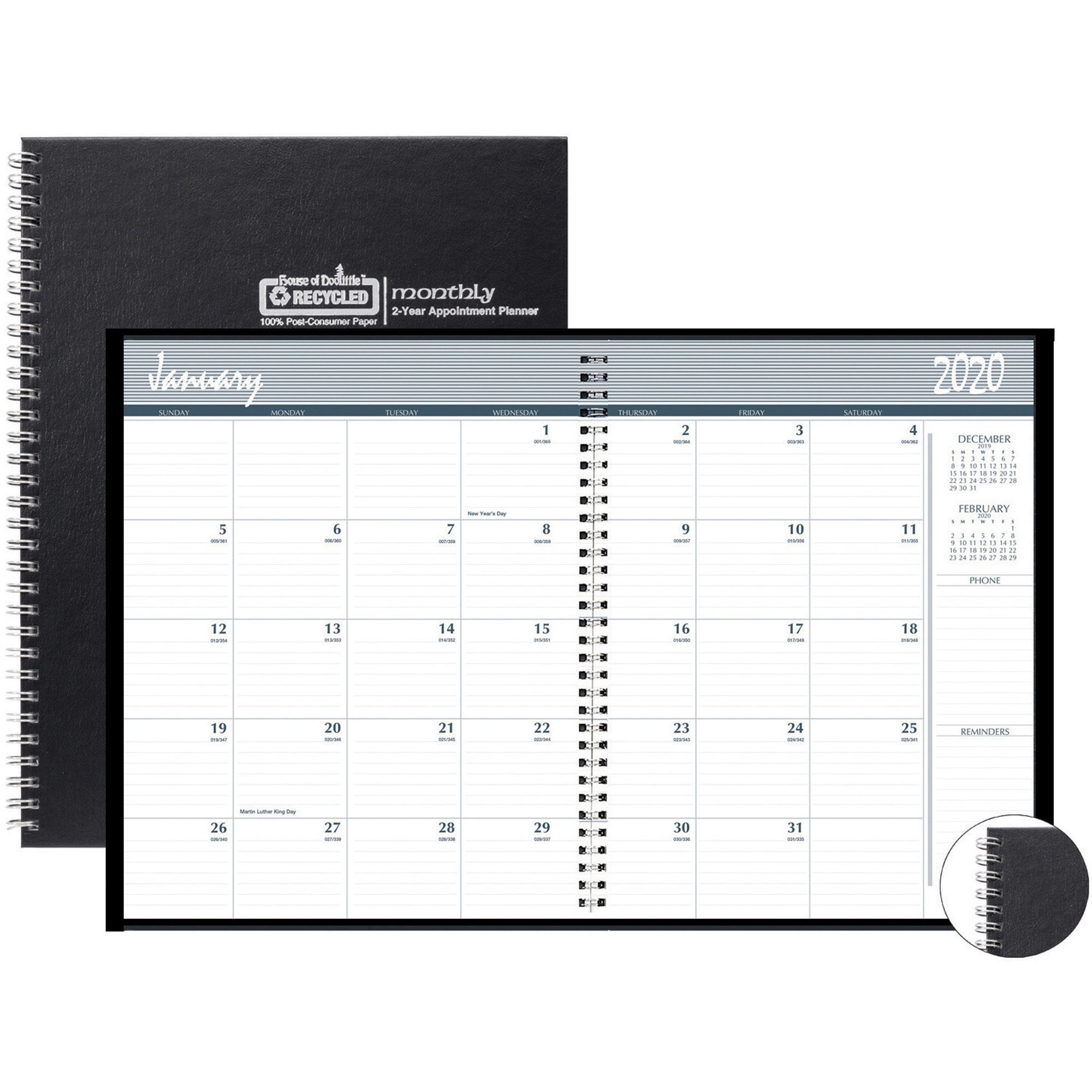 House Of Doolittle Monthly Calendar Planner 2 Year Black Hard Cover 8-1/2 X  11 Inches - Yes - Monthly - 2 Year - January 2020 Till December 2021 - 1