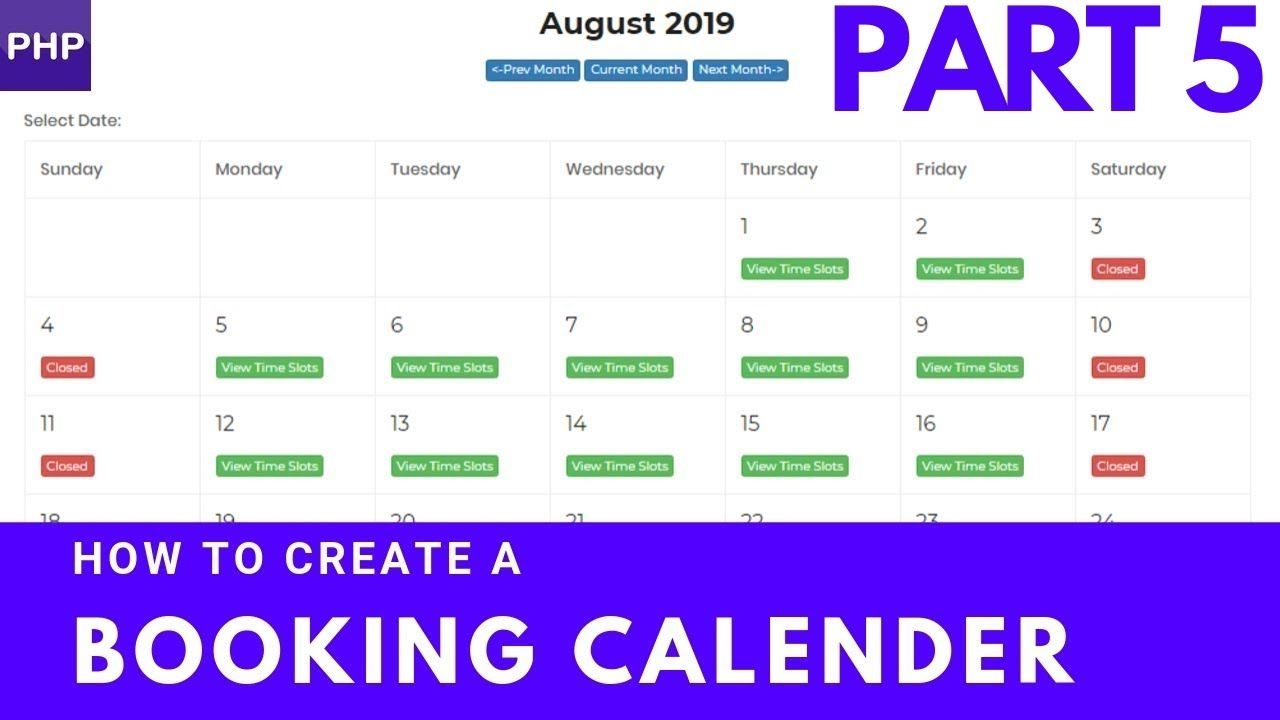 How To Create A Booking Calendar With Time Slots And Validation Php Mysql  Part 5