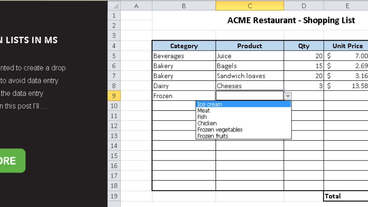 How To Work With Drop Down Lists In Ms Excel - Master Data