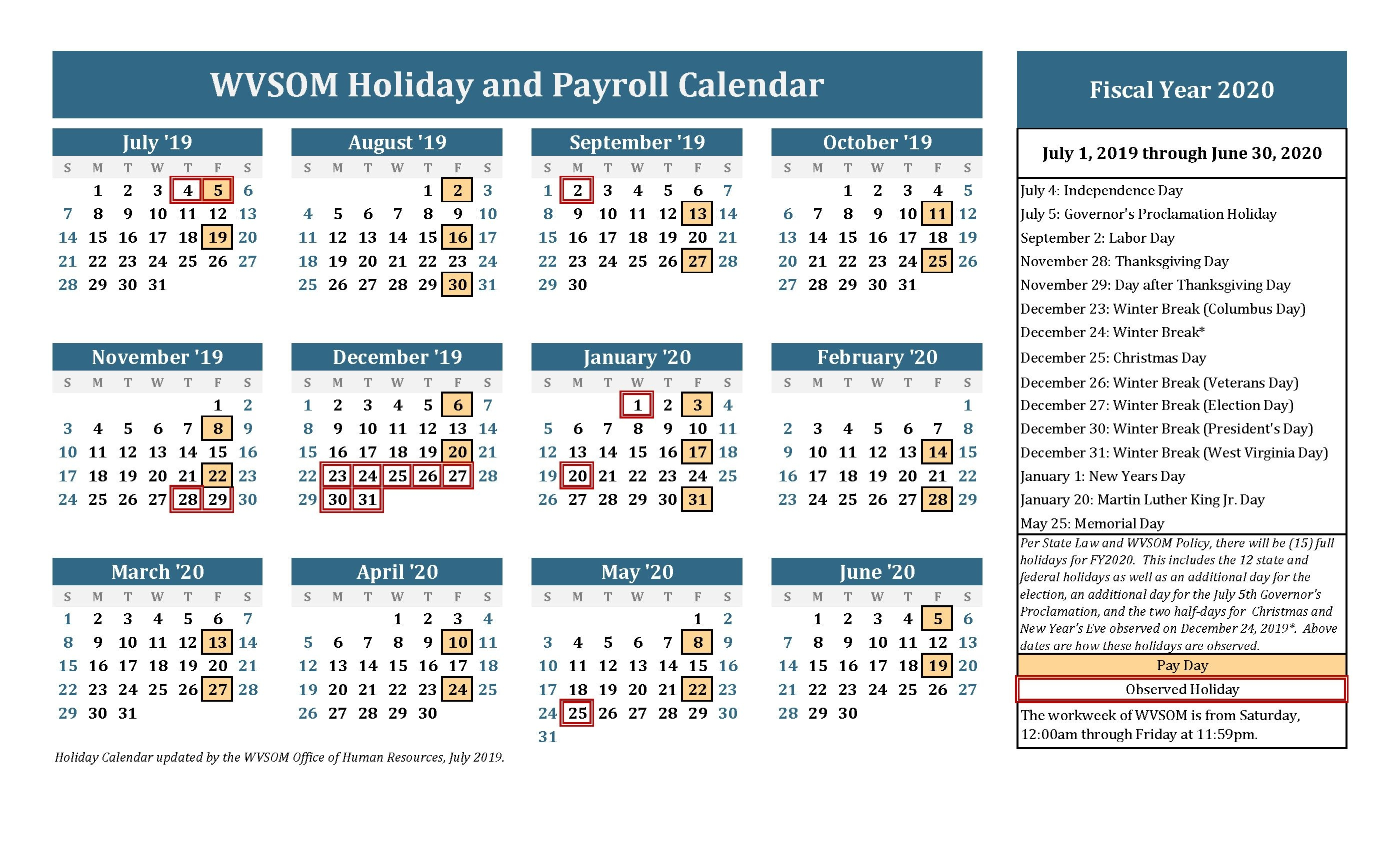 Human Resources - Holiday Calendar | West Virginia School Of