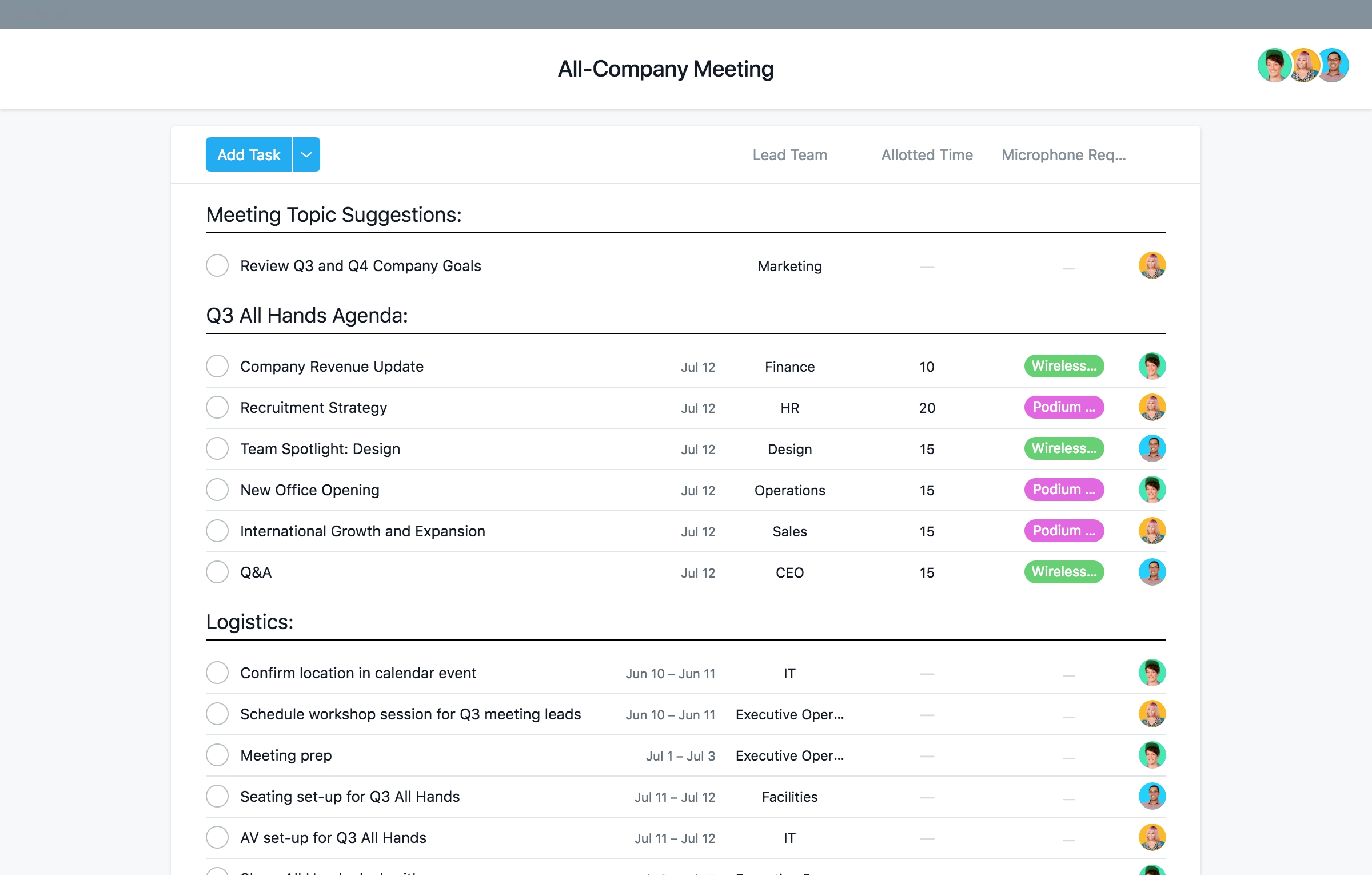 Human Resources Project Templates, Checklists, And More · Asana
