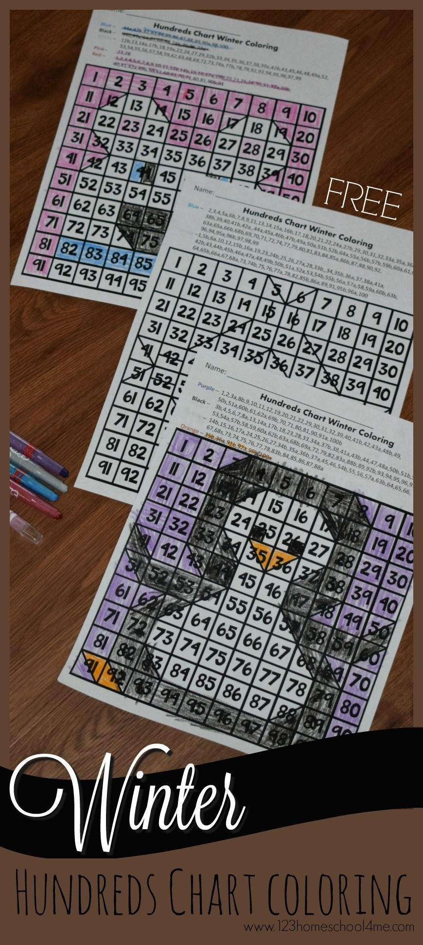 Hundreds Chart Winter Coloring | Winter Math Worksheets