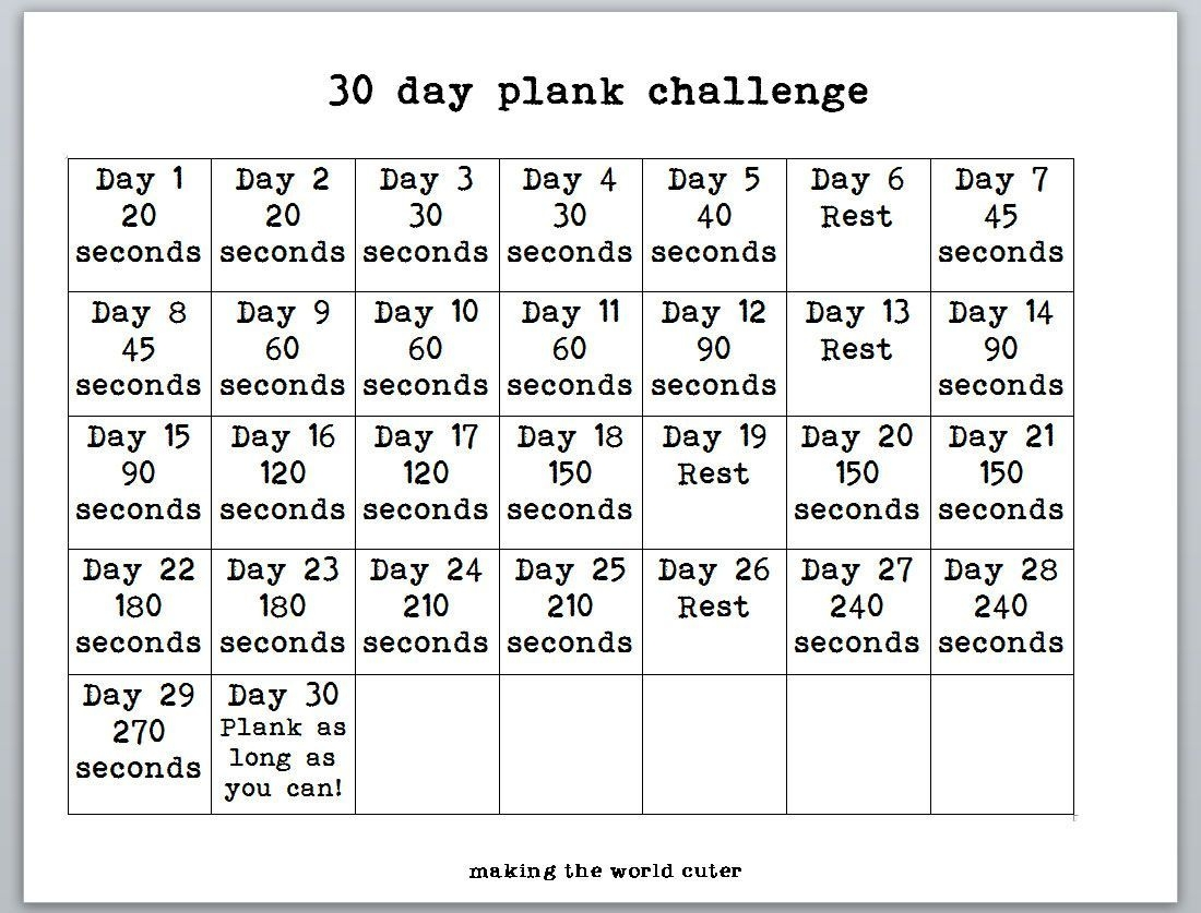 Image Result For 30 Day Plank Challenge Calendar (With