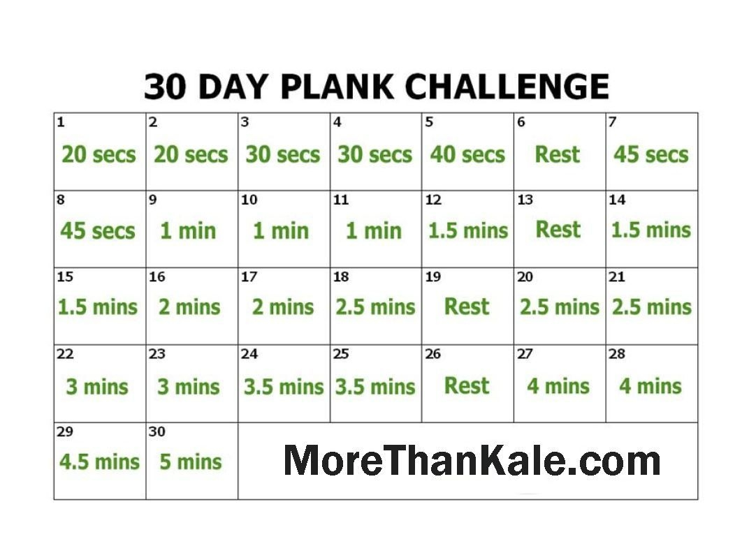 Innovative 30 Day Plank Challenge Printable Pdf Calendar