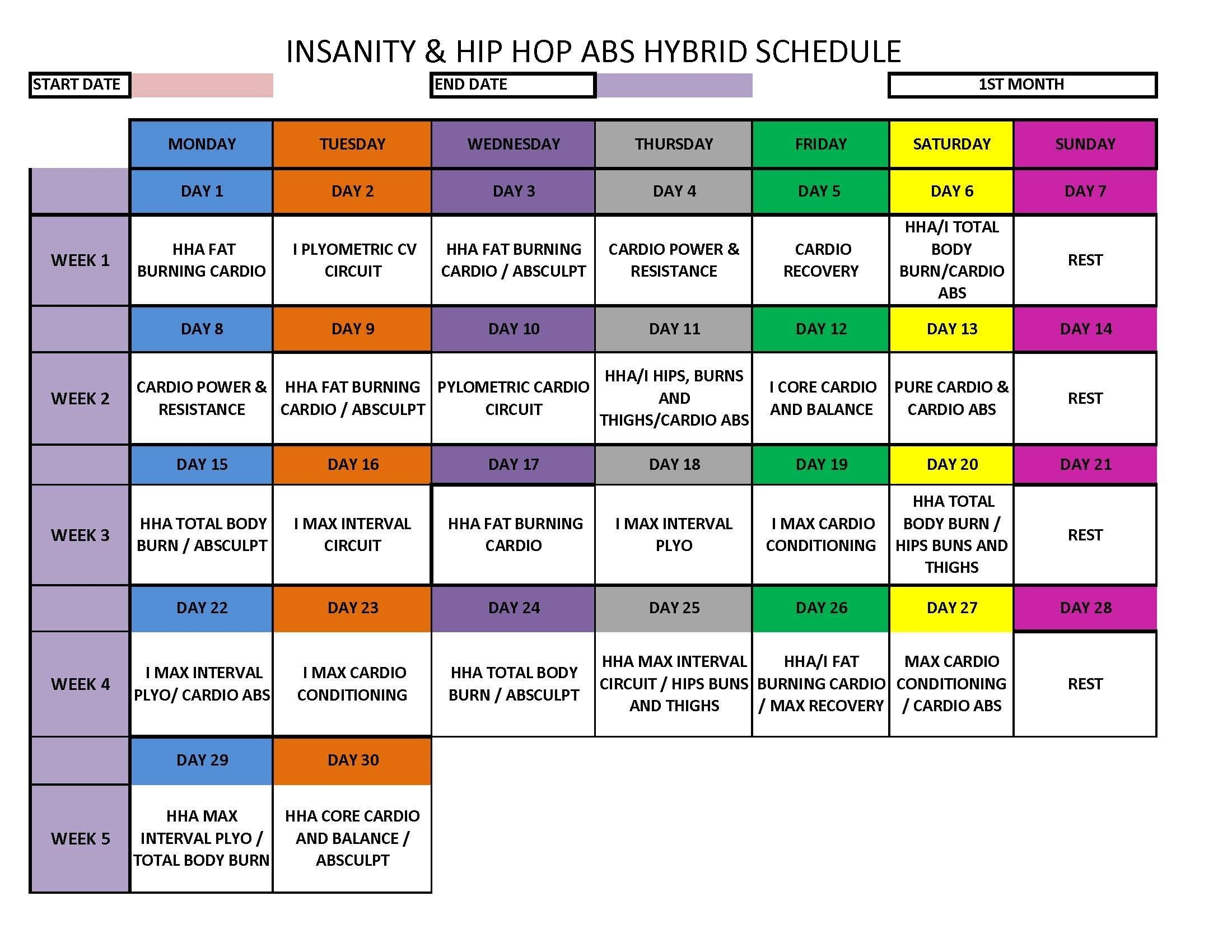 Insanity - Hip Hop Abs Hybrid Schedule | Hip Hop Abs, Hip