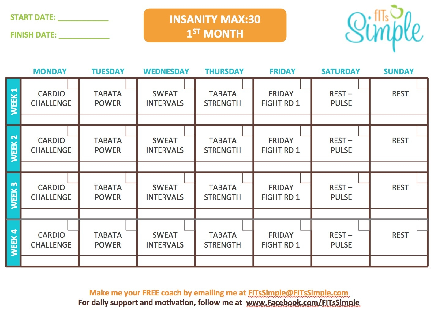 Insanity Max 30 Workout Calendar Free Download Template