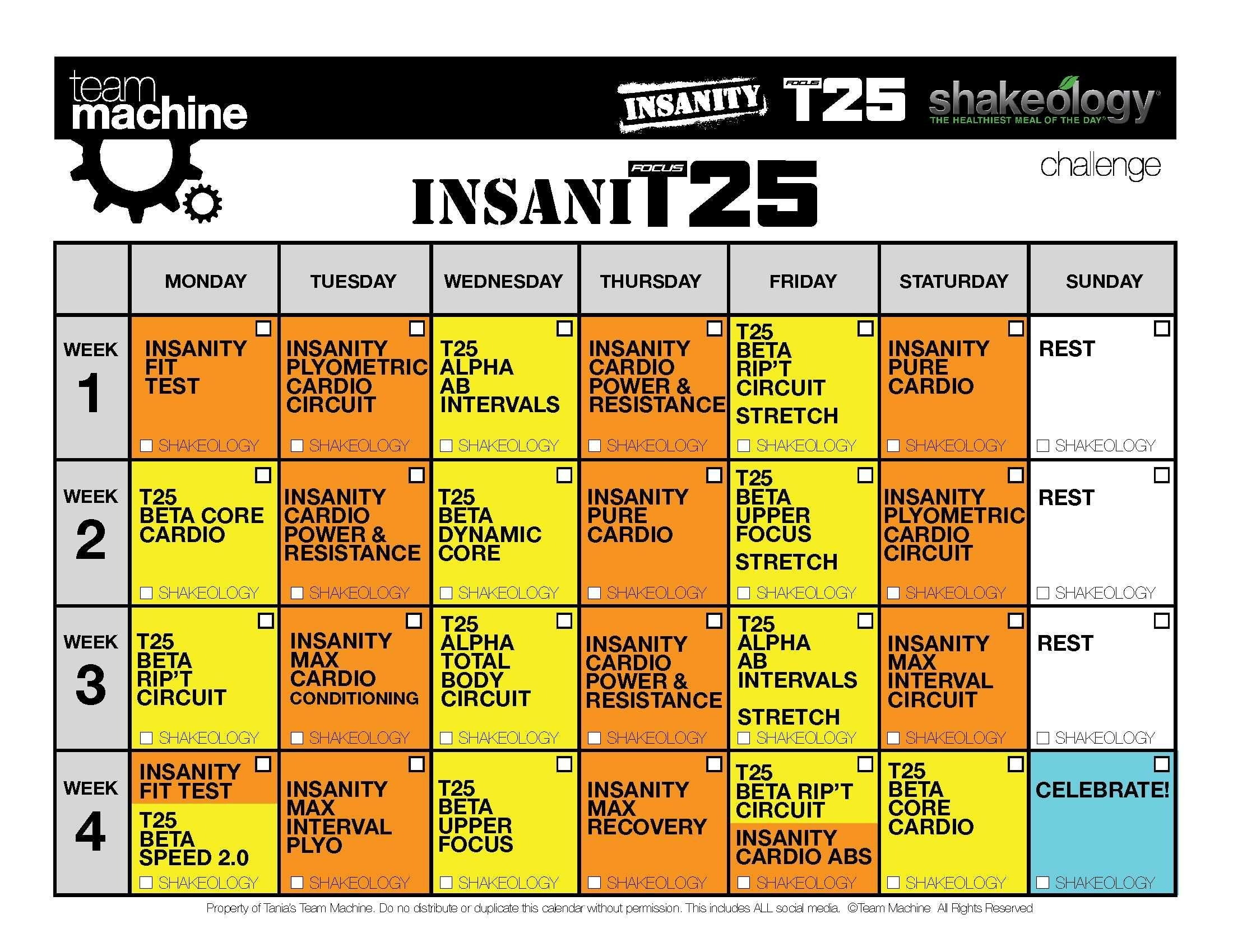 Insanity & T25 Hybrid (Insanit25 Workout Review & Calendar