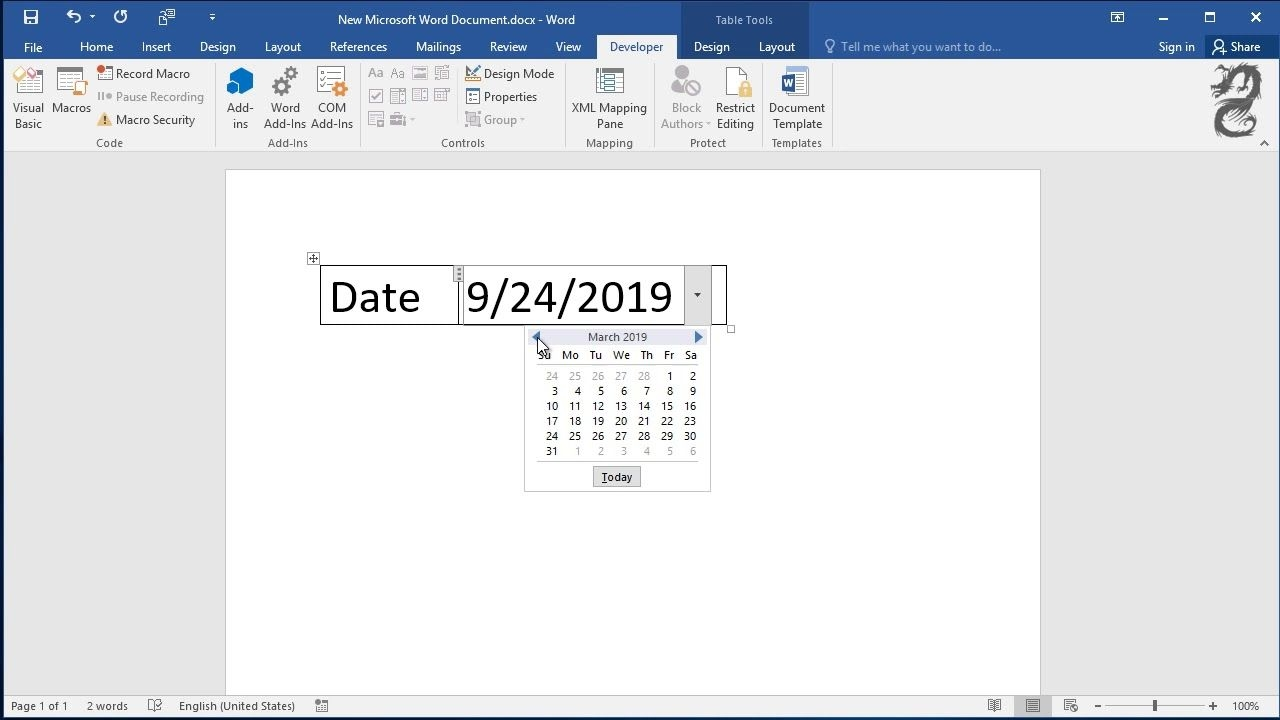Insert A Date Picker In Microsoft Word: Create Drop Down List Of Date  Calendar