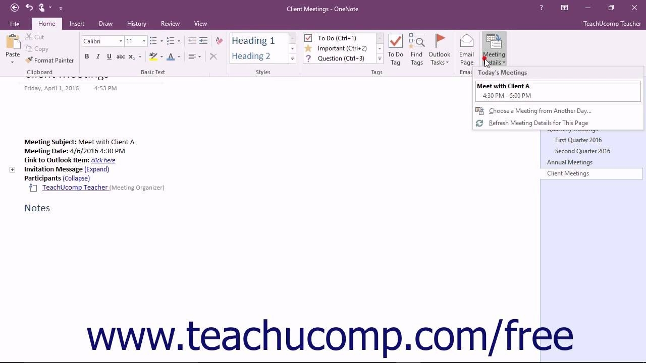 Insert Outlook Meetings In Onenote- Tutorial And Instructions