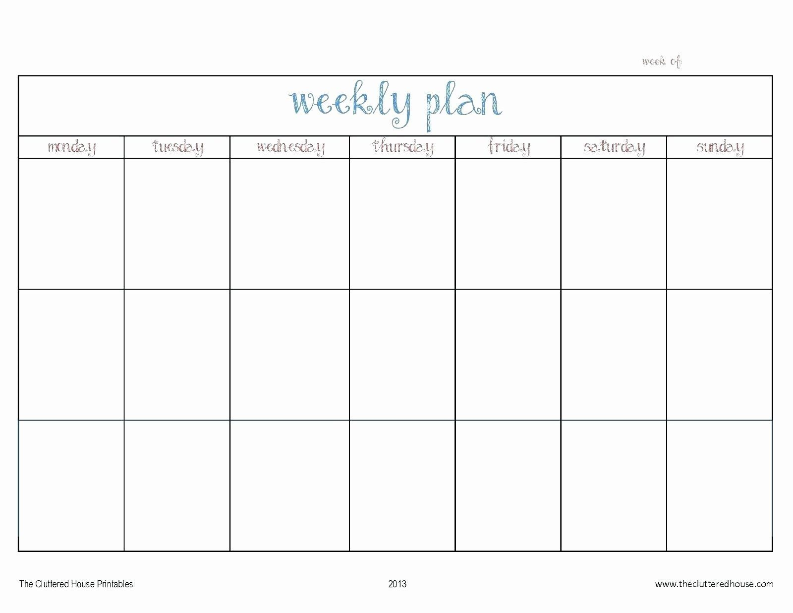 Inspirational Monday Through Friday Schedule Template In