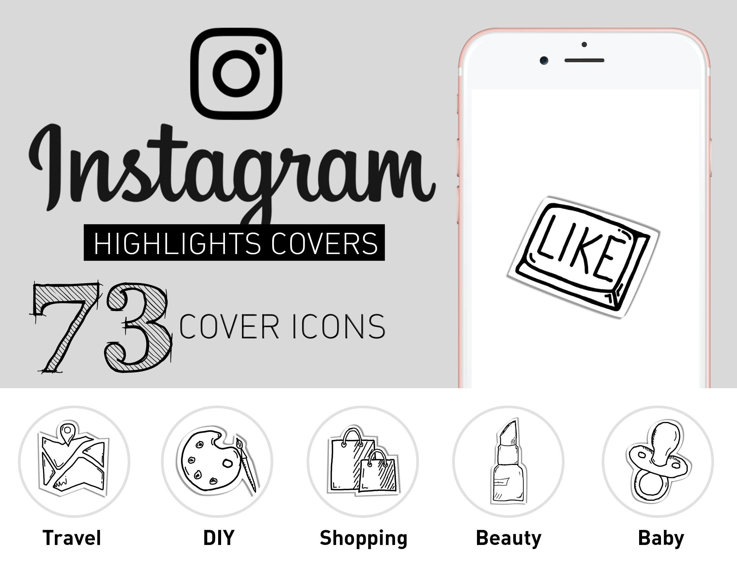 Instagram Highlight Icons Black And White Set Of 73 Ig Story