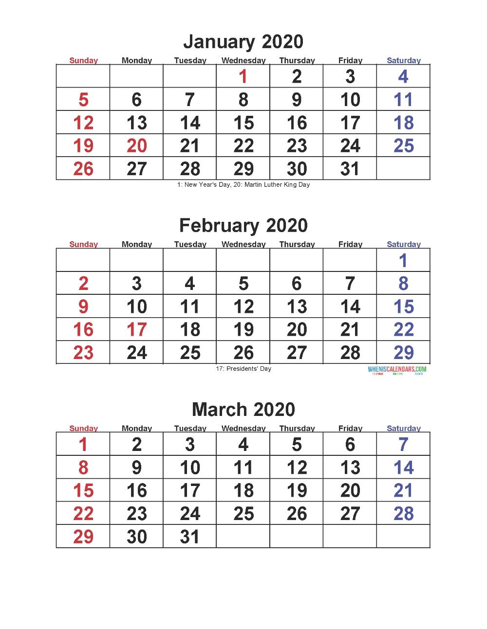 Jan Feb Mar 2020 Calendar 3 Months Per Page – Free Printable