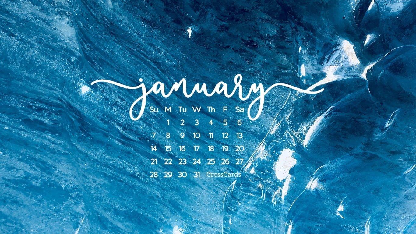 January 2018 - Blue Desktop Calendar- Free January Wallpaper