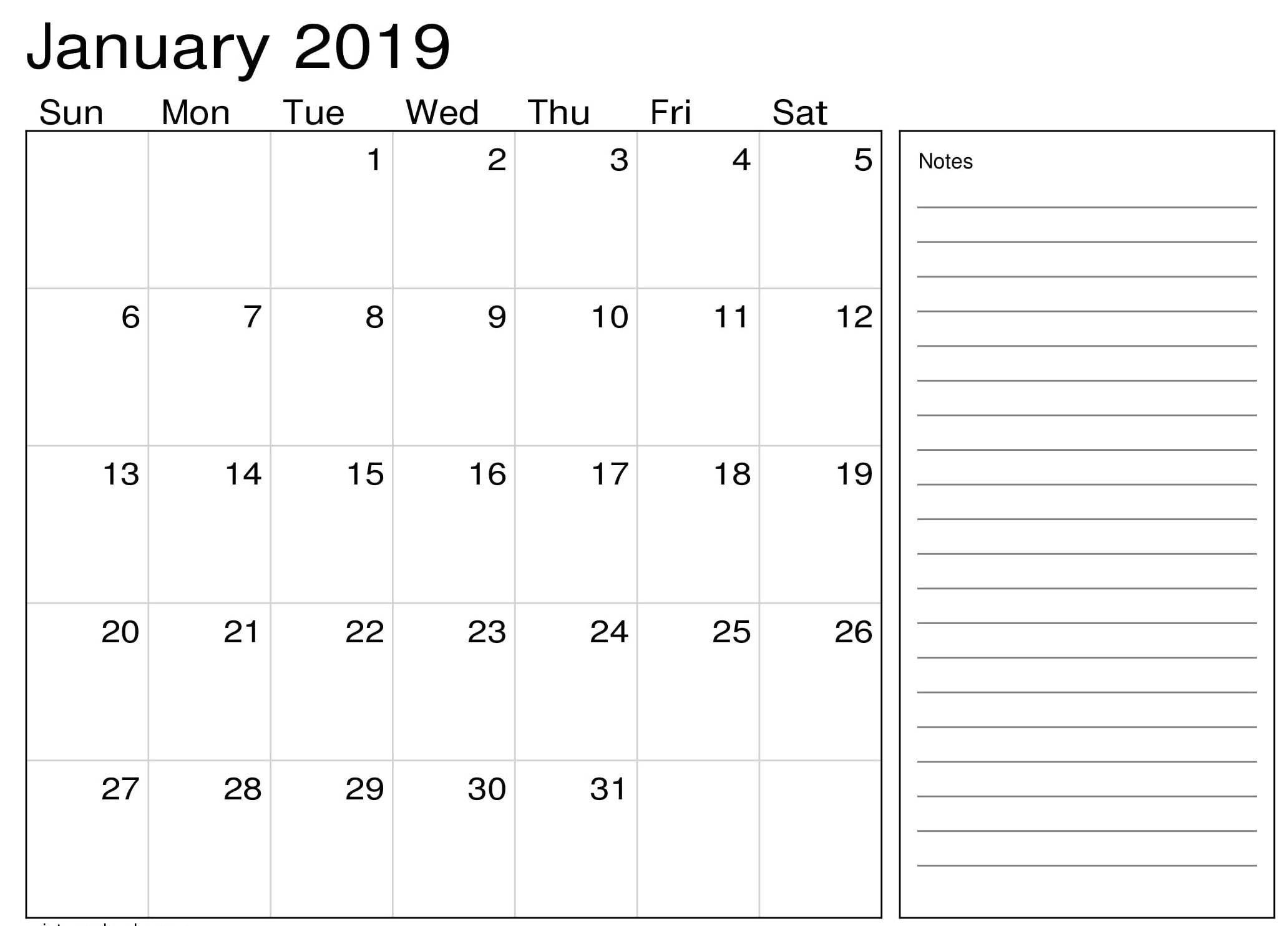 January 2019 Calendar Pdf (With Images) | August Calendar