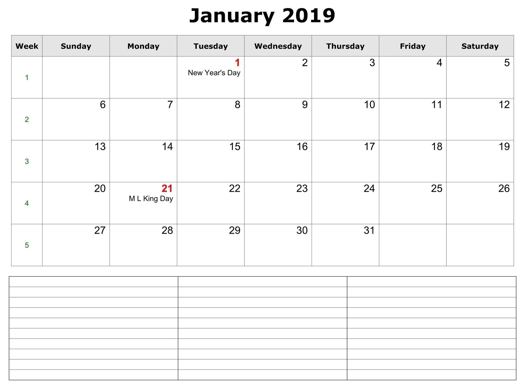 January 2019 Calendars Template With Notes Section