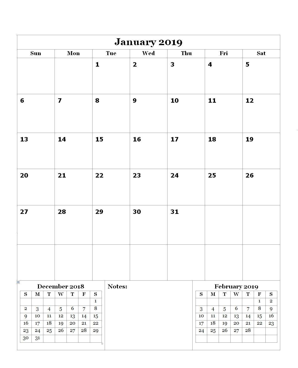 January 2019 Editable Calendar (With Images) | Editable